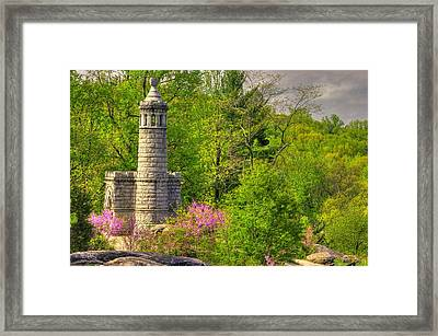 New York At Gettysburg - Monument To 12th / 44th Ny Infantry Regiments-1a Little Round Top Spring Framed Print by Michael Mazaika