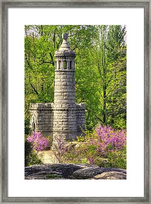 New York At Gettysburg - Monument To 12th / 44th Ny Infantry Regiments-2a Little Round Top Spring Framed Print by Michael Mazaika