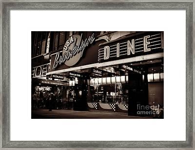 New York At Night - Brooklyn Diner - Sepia Framed Print