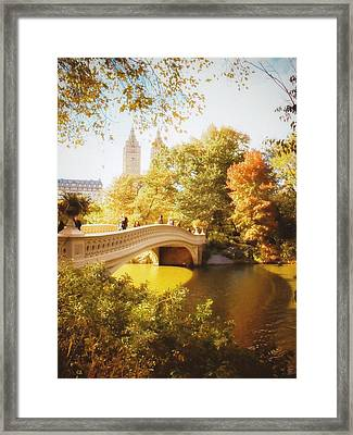 New York Autumn - Central Park - Bow Bridge Framed Print