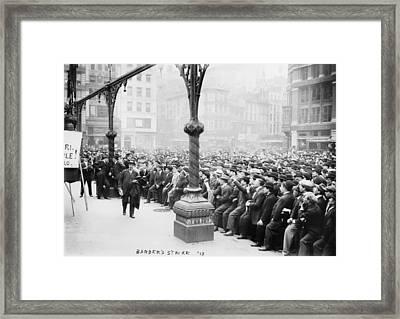 New York Barber Strike Framed Print