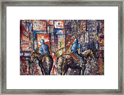 New York Broadway At Night - Oil Framed Print by Art America Gallery Peter Potter