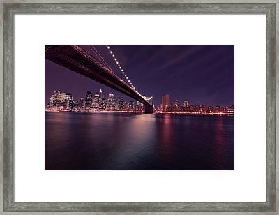 New York Brooklyn Bridge At Night Framed Print by David Dehner