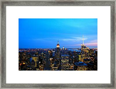 New York By Night Framed Print by Eric Dewar