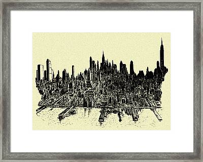 New York City 78 - Ink Panorama Framed Print