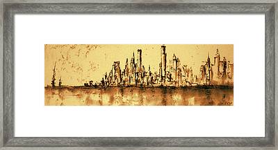 New York City Skyline 79 - Water Color Panorama Framed Print