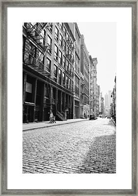 New York City Afternoon - Cobblestones In The Sunlight Framed Print by Vivienne Gucwa