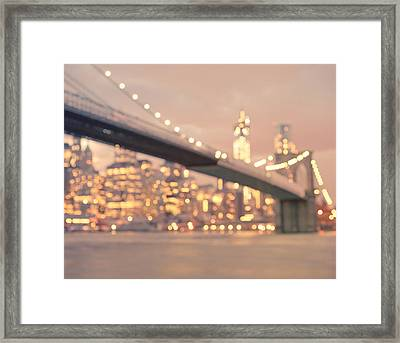 New York City And The Brooklyn Bridge - Night Lights Framed Print by Vivienne Gucwa