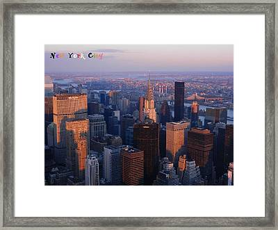 New York City At Dusk Framed Print