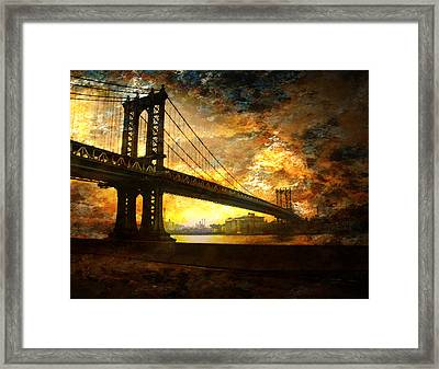 Framed Print featuring the digital art New York City Bridge by Bruce Rolff