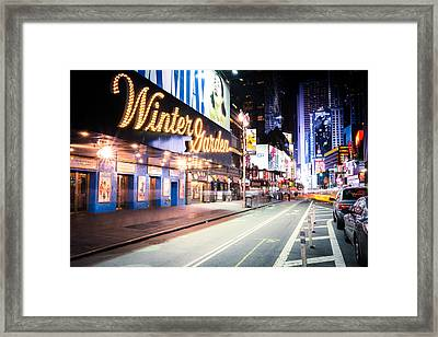New York City - Broadway Lights And Times Square Framed Print