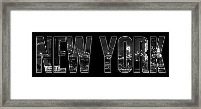 New York City Brooklyn Bridge Bw Framed Print by Melanie Viola