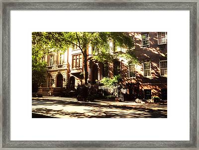 New York City Brownstones In The Sun Framed Print by Vivienne Gucwa