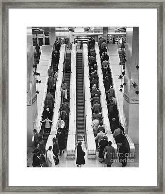 New York City Bus Terminal, 1953 Framed Print by Bedrich Grunzweig