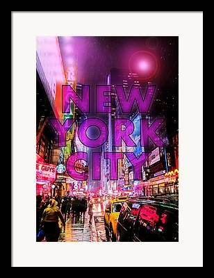Neon Signs Digital Art Framed Prints