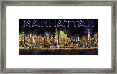 New York City Comes Alive At Sundown Framed Print by Susan Candelario