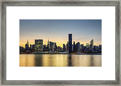 New York City Dusk Colors Framed Print by Susan Candelario