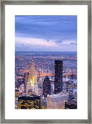 New York City Evening Framed Print by Mark E Tisdale