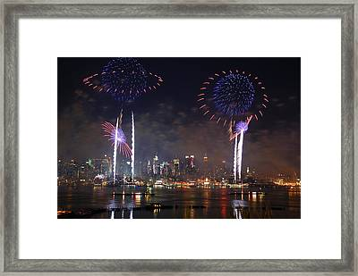New York City Fireworks Show Framed Print