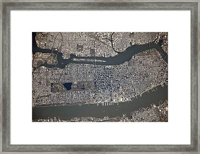 New York City From Space Framed Print by Science Photo Library