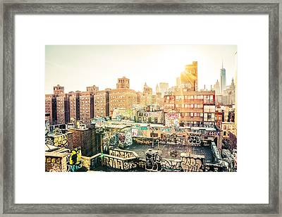 New York City - Graffiti Rooftops Of Chinatown At Sunset Framed Print by Vivienne Gucwa