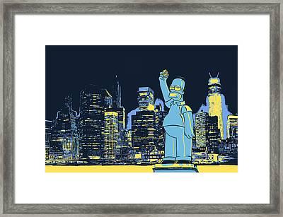 New York City Homer Statue Framed Print