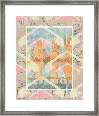New York City In Pastel Tones - View From Brooklyn Framed Print