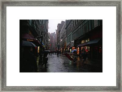 New York City In The Rain Framed Print by Eric Miller