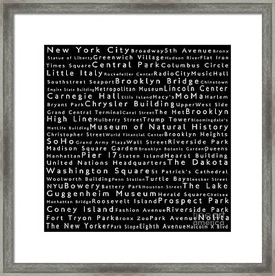 New York City In Words Black Framed Print