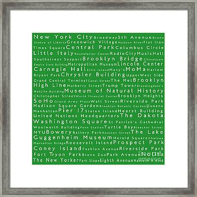 New York City In Words Green Framed Print
