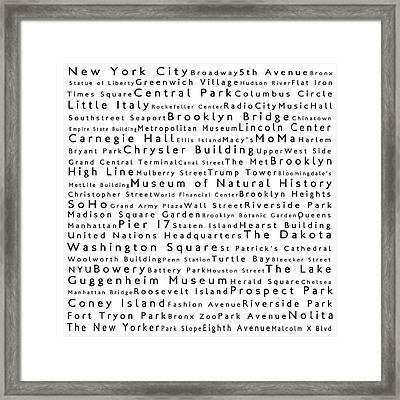 New York City In Words White Framed Print