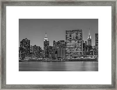 New York City Landmarks Bw Framed Print by Susan Candelario