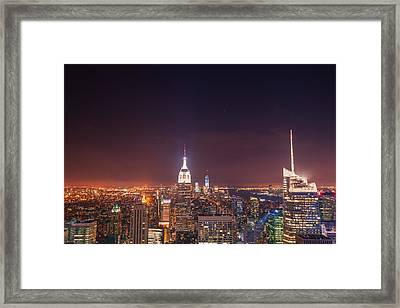 New York City Lights At Night Framed Print by Vivienne Gucwa