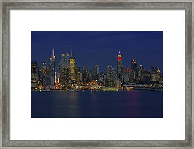 New York City Lights Framed Print by Susan Candelario