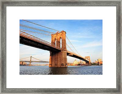 New York City Manhattan Brooklyn Bridge Framed Print