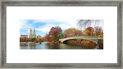 New York City Manhattan Central Park Panorama At Autumn Framed Print