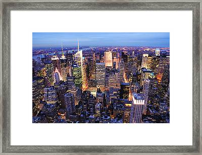 New York City Manhattan Times Square Night Framed Print
