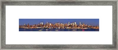 New York City Midtown Manhattan At Dusk Framed Print by Jon Holiday
