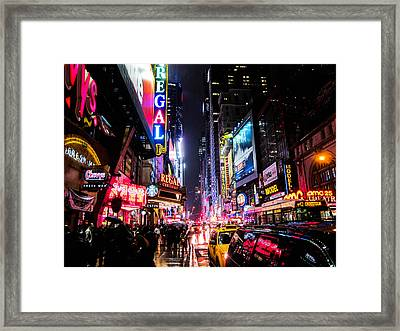 New York City Night Framed Print by Nicklas Gustafsson