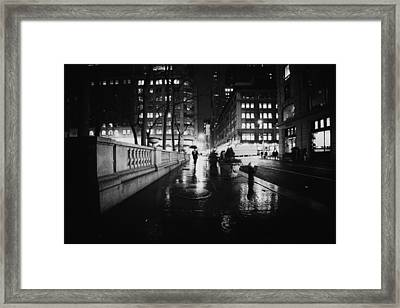 New York City - Night Rain Framed Print