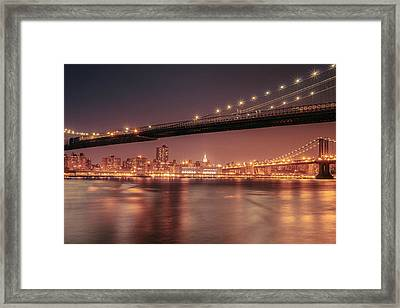 New York City Night - Two Bridges Framed Print by Vivienne Gucwa