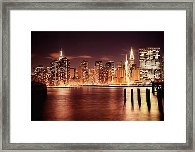 New York City - Night Framed Print by Vivienne Gucwa