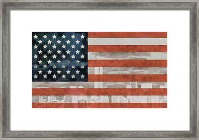New York City On American Flag Framed Print