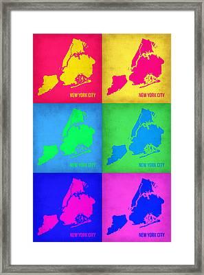 New York City Pop Art  Map 5 Framed Print by Naxart Studio