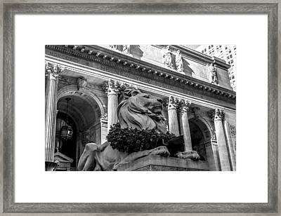 New York City Public Library Black And White Framed Print by David Morefield