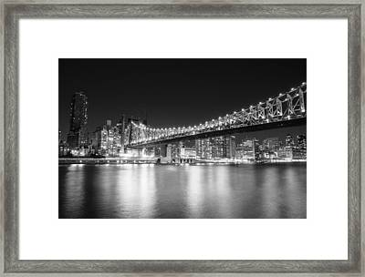 New York City - Queensboro Bridge At Night Framed Print by Vivienne Gucwa
