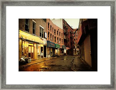 New York City - Rainy Afternoon - Doyers Street Framed Print by Vivienne Gucwa