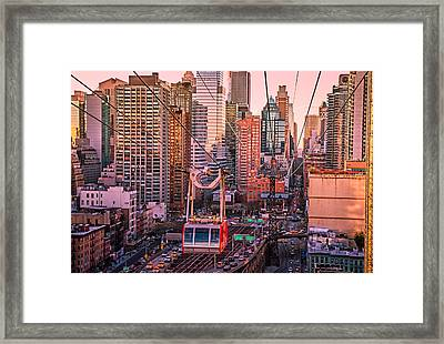 New York City - Skycrapers And The Roosevelt Island Tram Framed Print