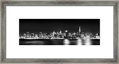 New York City Skyline - Bw Framed Print by Az Jackson