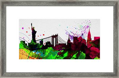 New York City Skyline 2 Framed Print by Naxart Studio